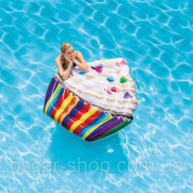 """Надувной пляжный матрас """"Кекс"""", 142 х 135 см / Надувной матрац водный / Надувной матрас пляжный"""