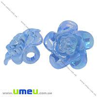 Пуговица пластиковая на ножке Цветок Анемона, 17х11 мм, Голубая АВ, 1 шт. (PUG-008932)