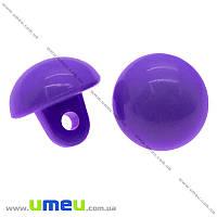 Пуговица пластиковая на ножке Круглая, 10,5х10 мм, Фиолетовая, 1 шт. (PUG-008905)