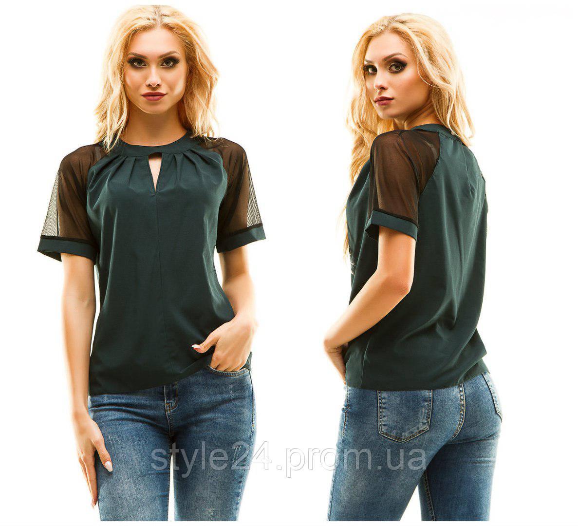 ЖІноча блуза з коротким рукавом з сіточки.Р-ри 44-50