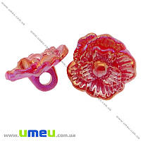 Пуговица пластиковая на ножке Роза, 17х10 мм, Красная АВ, 1 шт. (PUG-008922)