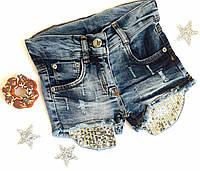 Шорты на девочку, джинс, р. 98-116, золотая пайетка