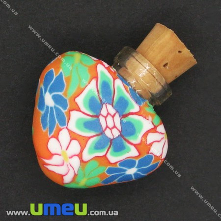Стеклянная баночка с полимерной глиной Сердце, Оранжевая, 24х22 мм, 1 шт. (DIF-006772) - Интернет-магазин УмеюВСЕ в Запорожье