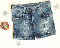 Шорты на девочку, джинс, р. 146-164, с жемчужинками