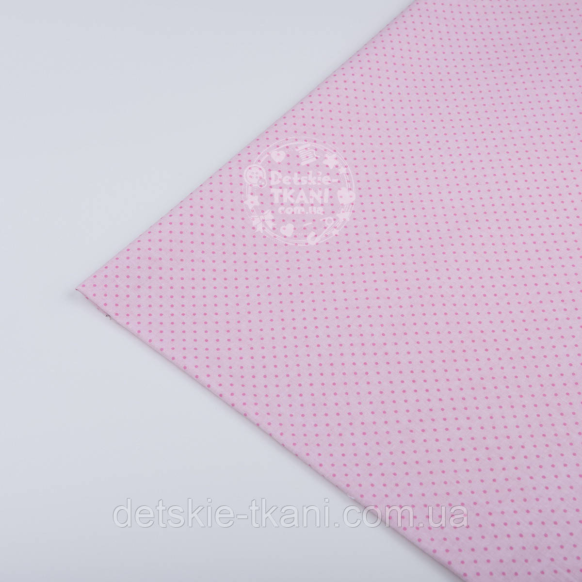 """Лоскут ткани №226 с розовыми точками на розовом фоне """"Шпильки"""", размер 23*130 см"""