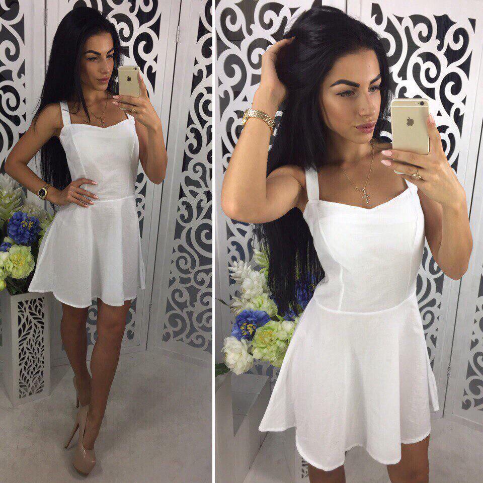 Летнее легкое белое платье - сарафан