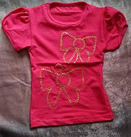 Яркая футболка для девочек с коротким рукавом и вышивкой из пайеток 86-134 р Бантики