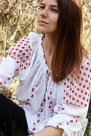 Жіноча вишита сорочка/блузка марльовка з червоно-білим орнаментом, фото 1