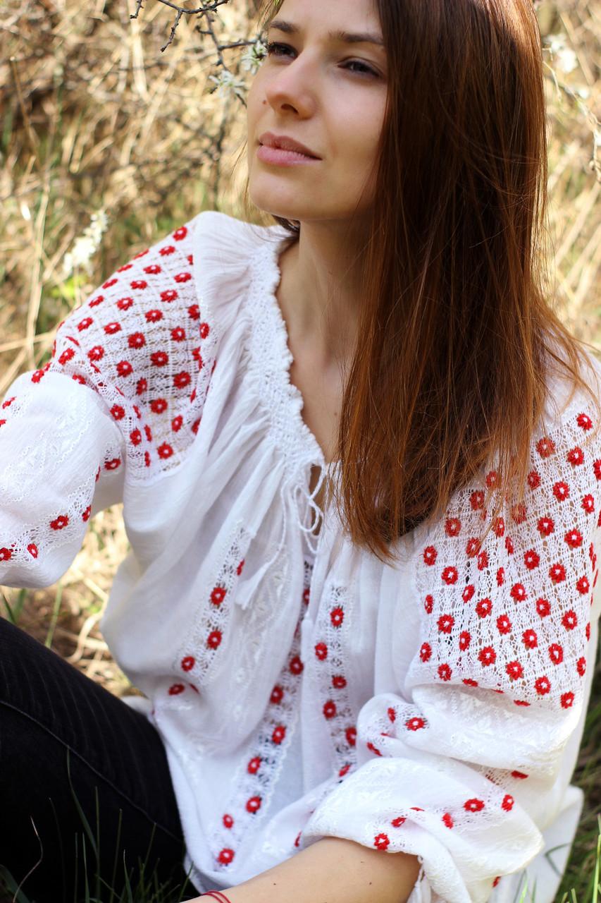 Жіноча вишита сорочка/блузка марльовка з червоно-білим орнаментом