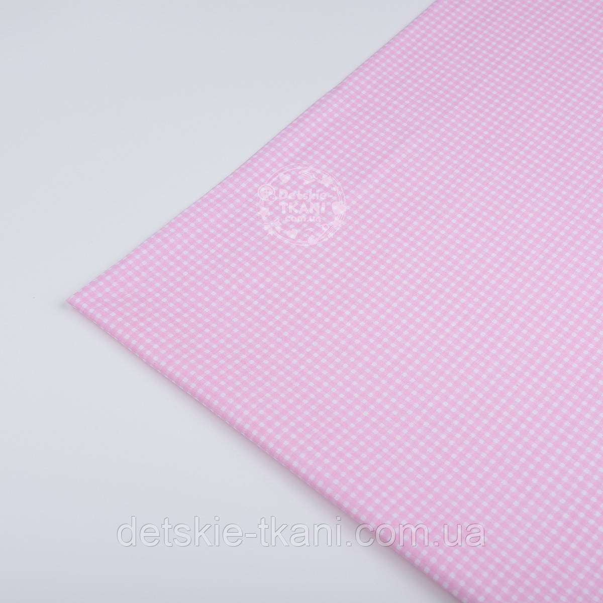 Лоскут ткани №61а  в мелкую розовою клеточку