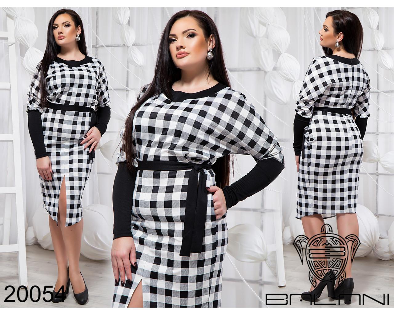 2f1346fb2b34219 Черно-белое трикотажное платье в клетку с поясом с 48 по 54 размер -  Интернет