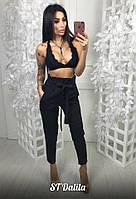 Женские брюки  черного цвета  с завышенной талией ткань костюмка