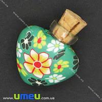 Стеклянная баночка с полимерной глиной Сердце, Зеленая, 24х22 мм, 1 шт. (DIF-006769)