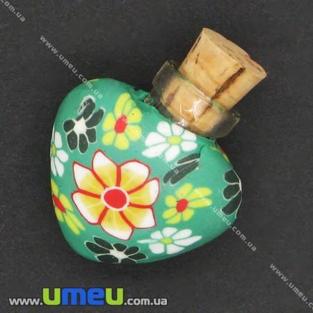 Стеклянная баночка с полимерной глиной Сердце, Зеленая, 24х22 мм, 1 шт. (DIF-006769) - Интернет-магазин УмеюВСЕ в Запорожье