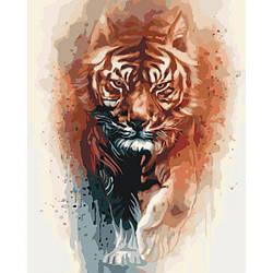 Картина по номерам Роспись на холсте Огненная сила тигра КНО4037 (без коробки)