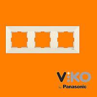 Тройная горизонтальная рамка VIKO Meridian Крем