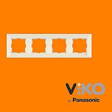 Четверная горизонтальна рамка VIKO Meridian Крем