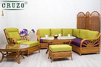 Комплект мебели CRUZO для гостиной с угловым диваном Аскания натуральный ротанг