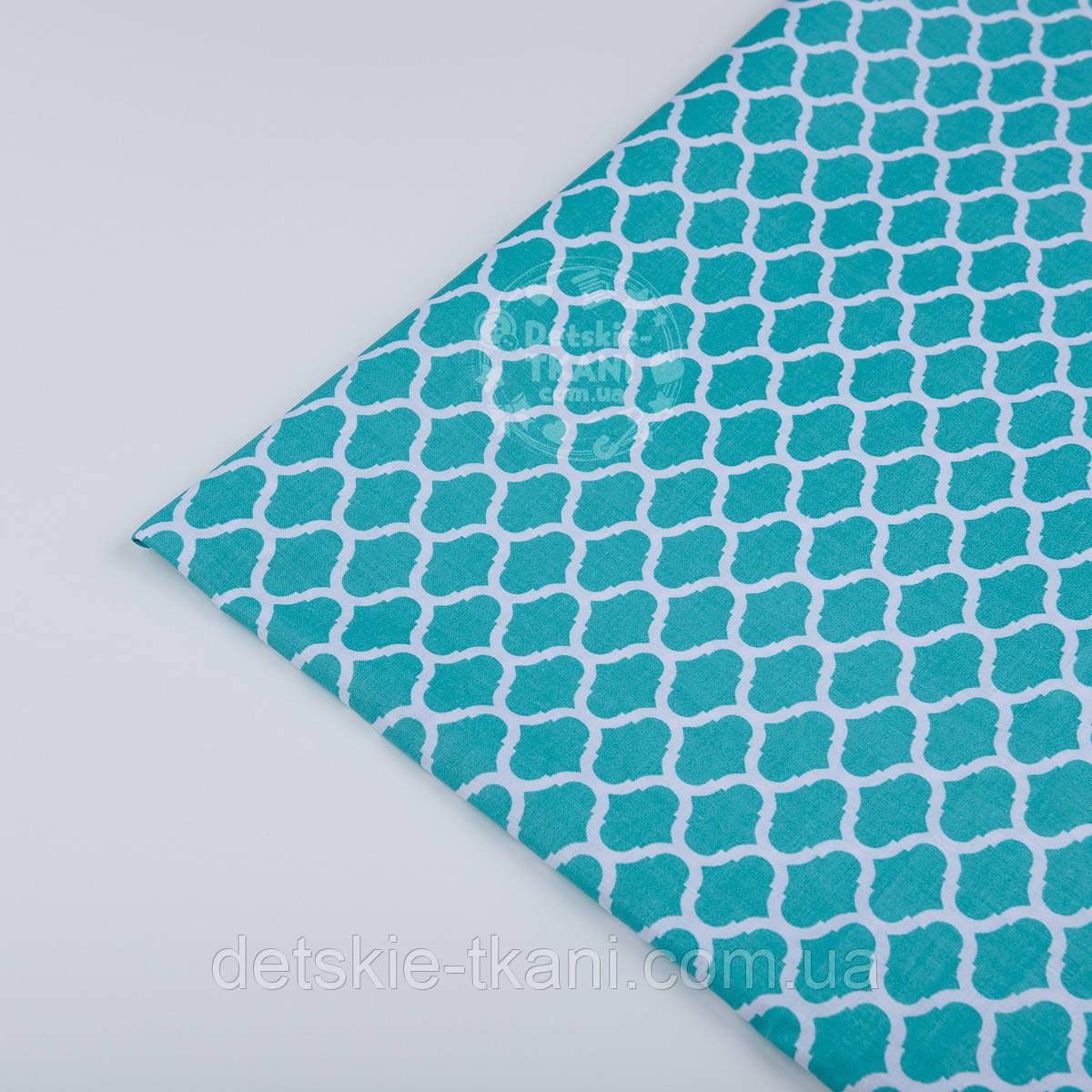 Отрез ткани №296а мини-марокко зелёно-бирюзового цвета, размером  50*160