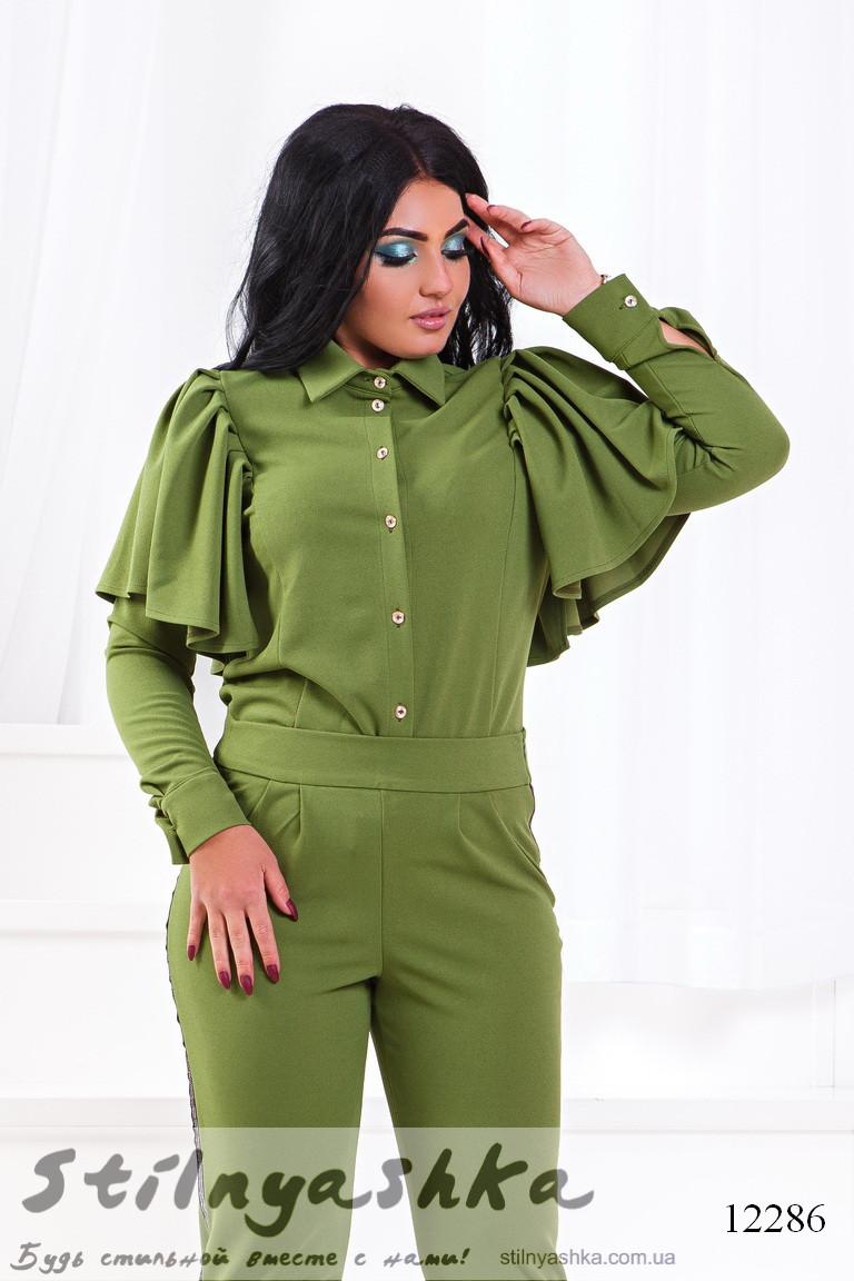 6b469e73c921 Стильный костюм для полных Летучая мышь оливка - Интернет-магазин