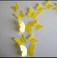 3D бабочки на стену желтого цвета декор 12 шт.