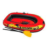 """Лодка """"EXPLORER PRO 200"""" 196*102*33см на 1 взрослого+ребенок, весла, насос,в кор.48*31*16 INTEX(3шт)(58357)"""