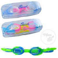Очки для плавания, регулир.ремешок, беруши 2шт, 3 цвета, в футляре 16*5*5,5см(72шт)(D25633)
