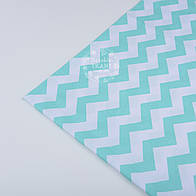 Лоскут ткани №49а с мятным зигзагом