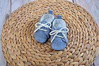 Льняные пинетки кеды для малыша, синие