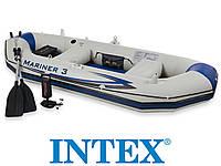 Байдарка надувная лодка понтон 3-х местная Intex 68373 Mariner 3 + алюминиевые вёсла и насос
