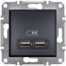 Розетка 2-я USB - 2,1A Asfora Plus EPH2700271 Антрацит