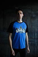 Мужская футболка Adidas KD-10125.Синяя с черным