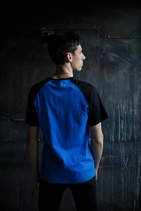 Мужская футболка Adidas KD-10125.Синяя с черным , фото 2