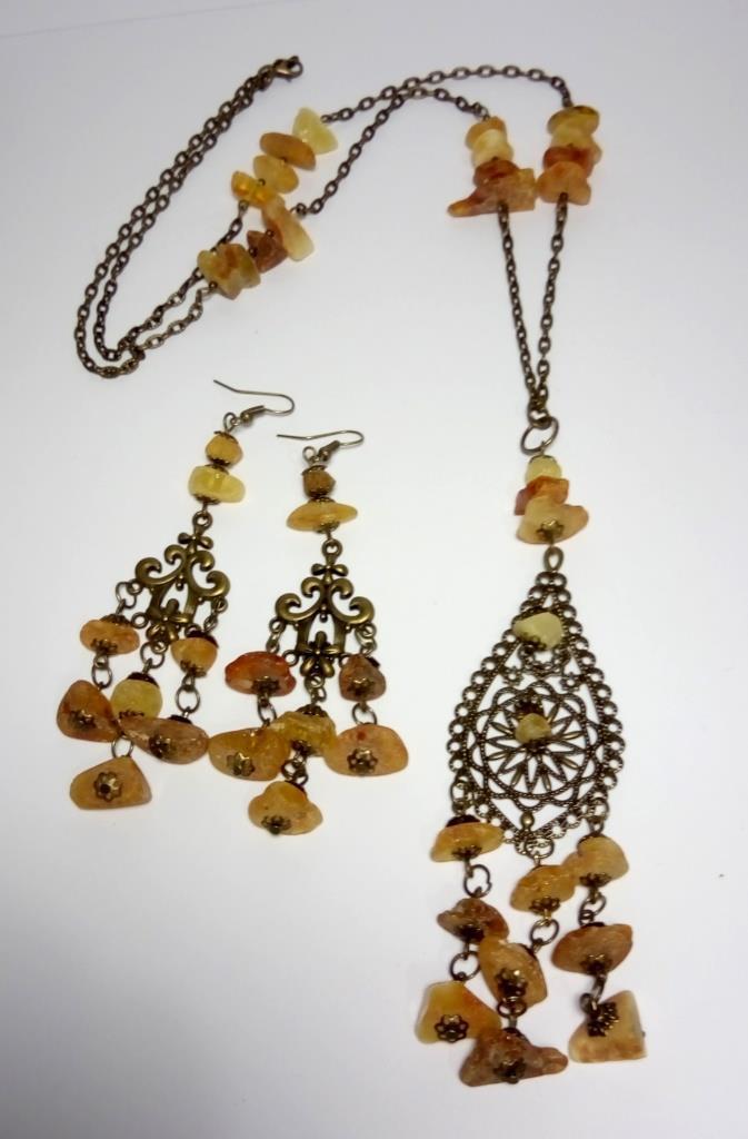 Янтарный кулон на цепочке с серьгами (на выбор), натуральный камень, тм Satori \ Sn - 0010