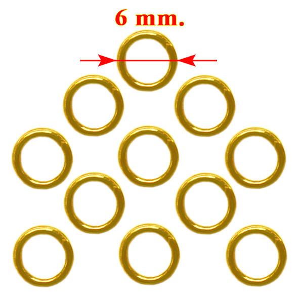 Колечка 6 мм Одинарні, Колір Золото, 20 грам, близько 295 шт, Фурнітура для Біжутерії, для Прикрас