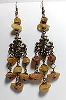Серьги из Янтаря в восточном стиле, бронза