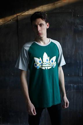 Мужская футболка Adidas KD-1018.зеленная с серым , фото 2