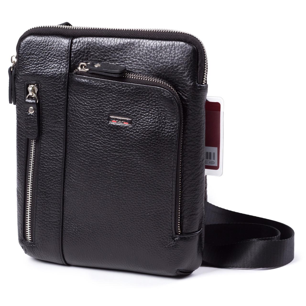 Чоловіча сумка шкіряна чорна BUTUN 3101-004-001