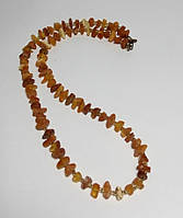 Бусы из Янтаря крошка, янтарные бусы, натуральный камень, бронза, цвет янтарный и его оттенки