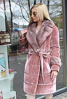 Пальто бархатное на синтепоне с норковой отделкой, фото 1