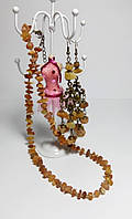 Комплект из Янтаря крошка, бусы - серьги восточные , натуральный камень, бронза, цвет янтарный и его оттенки