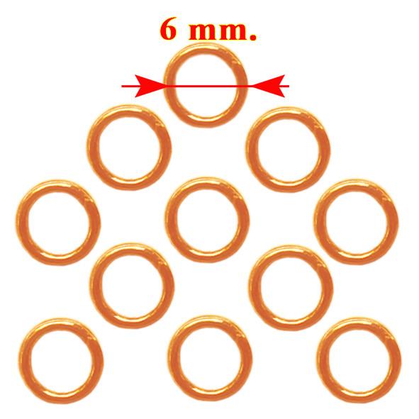Колечка 6 мм Одинарні, Колір Золото Рожеве, 20 грам, близько 295 шт, Фурнітура для Біжутерії, для Прикрас