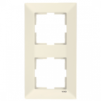 Подвійна вертикальна рамка VIKO Meridian Крем, фото 2