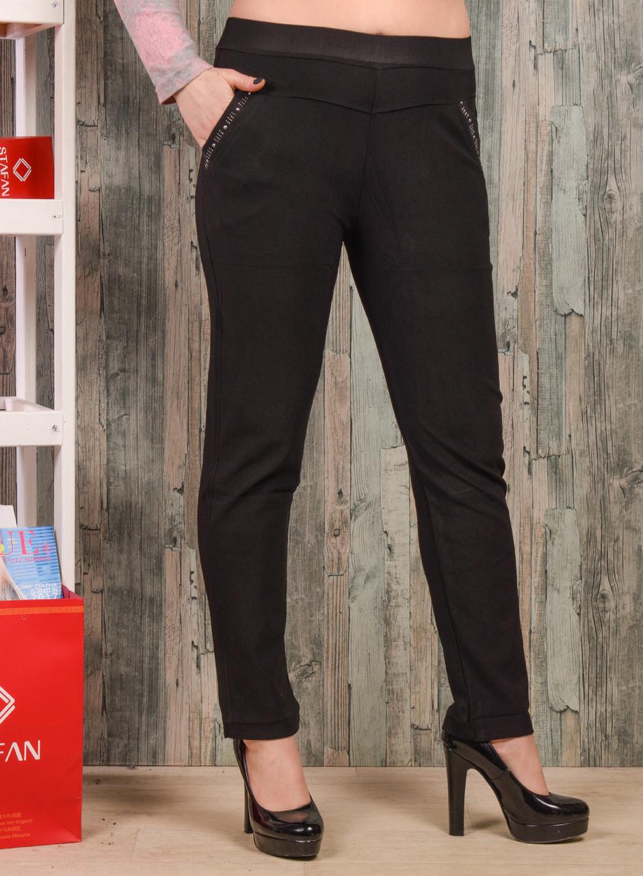 Женские брюки со стразиками на карманах Jujube B035-3 4XL-6XL. Размер