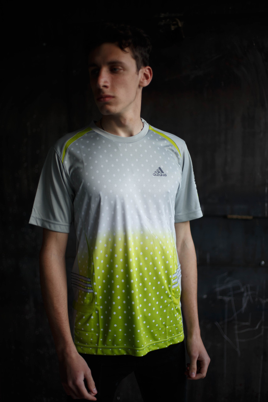 Мужская футболка Adidas Clima365.серая с салатовым