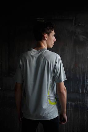 Мужская футболка Adidas Clima365.серая с салатовым, фото 2