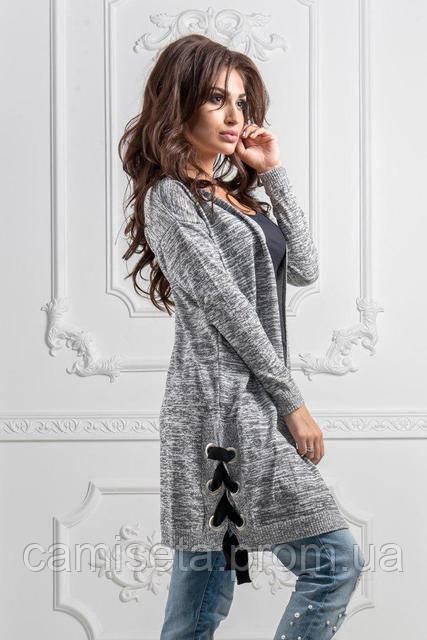 кардиган женский вязаный со шнуровкой по бокам P8602 продажа цена в одессе свитеры