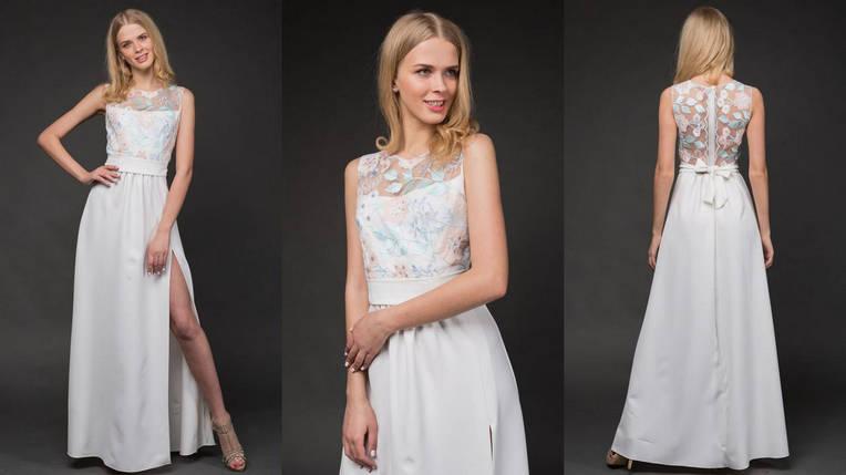 """Нарядное атласное макси-платье """"LILU"""" с вышивкой и разрезом (3 цвета), фото 2"""