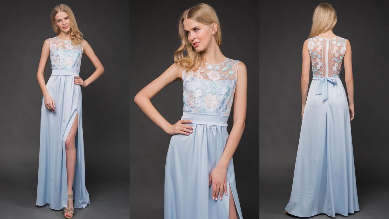 """Нарядное атласное макси-платье """"LILU"""" с вышивкой и разрезом (3 цвета)"""