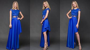 """Нарядный женский костюм-двойка """"MILITA"""" с асимметричной юбкой (9 цветов), фото 2"""